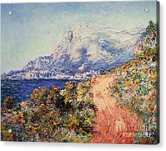 The Red Road Near Menton Acrylic Print by Claude Monet