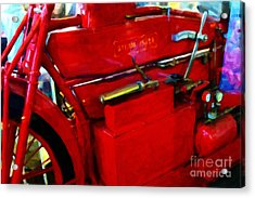 The Red Steam Flyer . Steam Powered Motorcycle . 7d14374 Acrylic Print by Wingsdomain Art and Photography