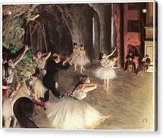 The Rehearsal On The Stage Acrylic Print by Edgar Degas