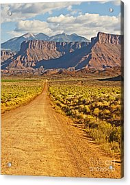 The Road Beckons Acrylic Print by Bob and Nancy Kendrick