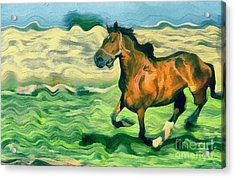 The Running Horse Acrylic Print by Odon Czintos
