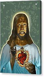 The Sacred Heart Of Wolfman Jesus Acrylic Print
