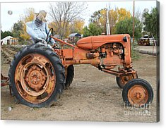 The Scarecrow Riding On The Old Farm Tractor . 7d10301 Acrylic Print by Wingsdomain Art and Photography