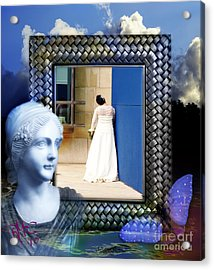 Acrylic Print featuring the digital art The Shy Bride by Rosa Cobos