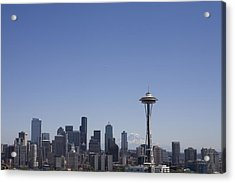 The Skyline Of Seattle On A Sunny Acrylic Print by Taylor S. Kennedy