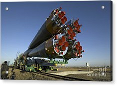 The Soyuz Rocket Is Rolled Acrylic Print by Stocktrek Images