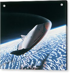 The Space Shuttle Re-entering The Earths Atmosphere Acrylic Print by Stockbyte