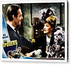 The Spoilers, From Left Randolph Scott Acrylic Print by Everett