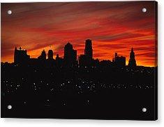 The Sun Rises Over The Skyline Acrylic Print by Stephen Alvarez