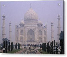 The Taj Mahal In Early Morning Mist Acrylic Print by Anne Gordon