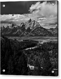 The Tetons - Il Bw Acrylic Print by Larry Carr