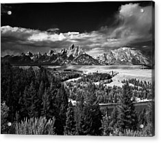 The Tetons Acrylic Print by Larry Carr