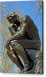 The Thinker By Rodin Acrylic Print by Lisa Phillips