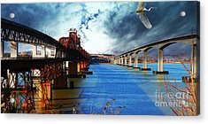 Acrylic Print featuring the photograph The Three Benicia-martinez Bridges . A Journey Through Time by Wingsdomain Art and Photography