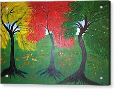 The Three Colours Of Maple Trees Acrylic Print by Pretchill Smith