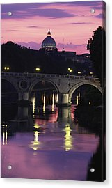 The Tiber River And The Dome Of St Acrylic Print by Richard Nowitz