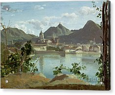The Town And Lake Como Acrylic Print by Jean Baptiste Camille Corot