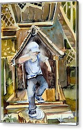 The Tree House Kid Acrylic Print by Mindy Newman