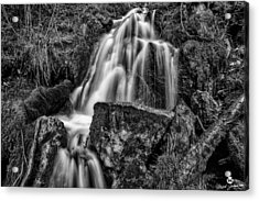 The Upper Butler Fork Falls Bw Acrylic Print by Mitch Johanson