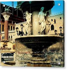 The Venetian Fountain In Las Vegas Acrylic Print by Susanne Van Hulst