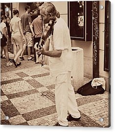 The Violin Player #man #praha #prague Acrylic Print