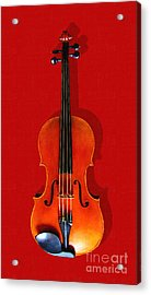 The Violin . Red Version . Painterly Acrylic Print by Wingsdomain Art and Photography