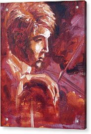 Acrylic Print featuring the painting The Violinist by Walter Fahmy