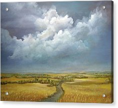 Acrylic Print featuring the painting The Wheat Field by Katalin Luczay