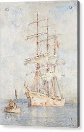 The White Ship Acrylic Print by Henry Scott Tuke