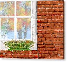 The Window Triptych Fall Acrylic Print by Jim Hubbard