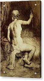 The Woman With The Arrow Acrylic Print by Rembrandt Harmensz van Rijn