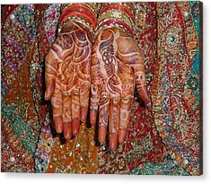 The Wonderfully Decorated Hands And Clothes Of An Indian Bride Acrylic Print