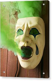 Theater Mask Spewing Green Smoke Acrylic Print by Garry Gay