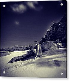Thinking Nude On The Beatch Acrylic Print