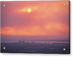 This Sunset Of The Anchorage Skyline Acrylic Print by George F. Mobley