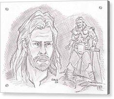 Thor Odinson- God Of Thunder Acrylic Print by Chris  DelVecchio