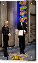 Thorbjorn Jagland Presents President Acrylic Print by Everett