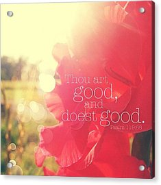 thou Art Good, And Doest Good... Acrylic Print by Traci Beeson