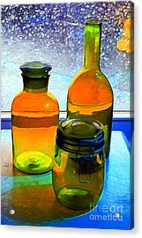 Three Bottles In Window Acrylic Print by Dale   Ford