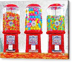 Three Candy Machines Acrylic Print by Wingsdomain Art and Photography