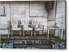 Three Chairs Beyond Front Street Acrylic Print by Brenda Bryant