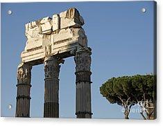 Three Columns And Architrave Temple Of Castor And Pollux Forum Romanum Rome Acrylic Print by Bernard Jaubert