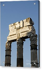 Three Columns And Architrave Temple Of Castor And Pollux Forum Romanum Rome Italy. Acrylic Print by Bernard Jaubert