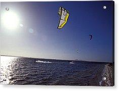 Three Kite Surfers On A Windy Summer Acrylic Print by Jason Edwards
