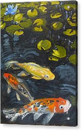 Acrylic Print featuring the painting Three Koi And Lily by Jessmyne Stephenson