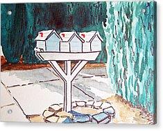 Three Mailboxes Sketchbook Project Down My Street Acrylic Print by Irina Sztukowski