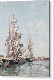 Three-masted Boats At The Quay In Deauville Harbour Acrylic Print by Eugene Louis Boudin