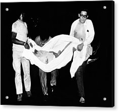 Three Men Carry Body Of A Youth Who Acrylic Print by Everett