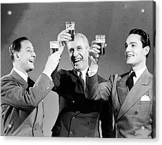 Three Men Making Toast With Glasses Of Beer (b&w) Acrylic Print by Hulton Archive
