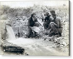 Three Men, With Dog, Panning For Gold Acrylic Print by Everett